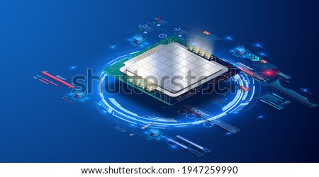 CPU concept with futuristic HUD elements. Modern smart Quantum Chip large data processing. Digital chip. Technology develop electronic devices on microchip, microprocessor, hardware engineering. AI Сток-фото ©