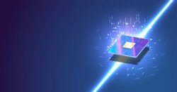 CPU isometric banner. Control Computer Processors CPU concept. Vector Futuristic microchip processor with lights on the blue background. Quantum computer, large data processing, database concept.