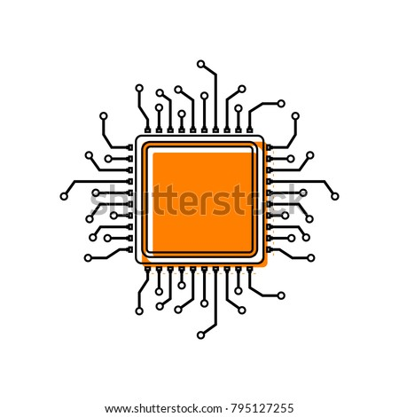 CPU Microprocessor illustration. Vector. Black line icon with shifted flat orange filled icon on white background. Isolated.