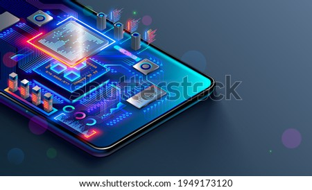 CPU of phone. Microchip, smd electronic components of mobile device on circuit board or motherboard. Digital Processor, parts of repair smartphone. Engineering and develop electronic microcontroller.