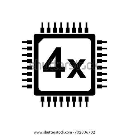 cpu vector icon 4 core