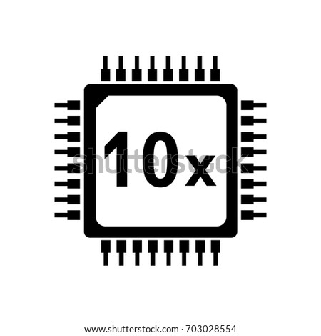 cpu vector icon 10 core  ten