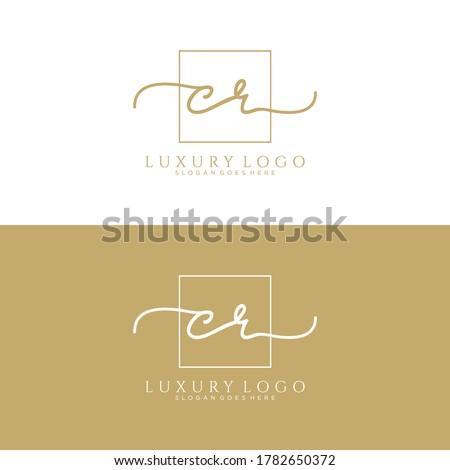 CR Initial handwriting logo template vector Photo stock ©