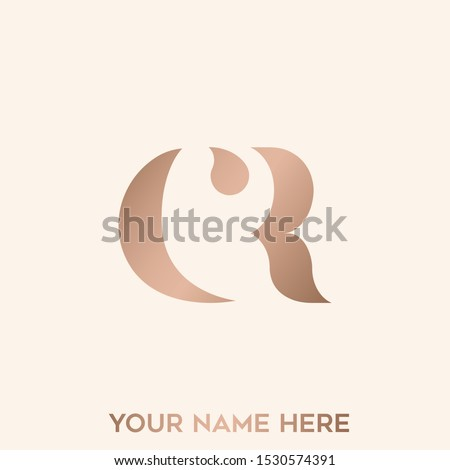 CR monogram.Typographic logo with letter c and letter r overlapped.Rose gold lettering icon.Alphabet initials sign isolated on light background.Modern,elegant,beauty,fashion style.Signature branding.