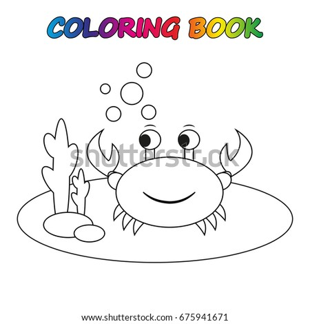crab - coloring book. Game for kids.  Vector cartoon  illustration.
