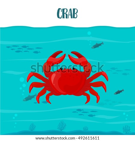 Crab in the blue water with fish. Vector illustration, eps10. Crab text.