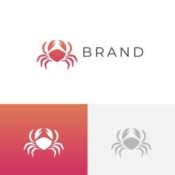 Crab logo. Abstract stylized crab icon. Sea food logotype. Vector illustration.