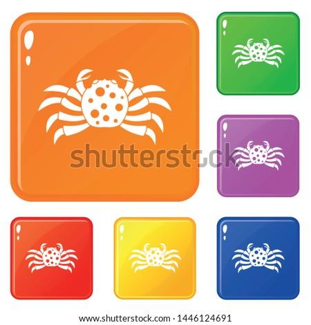 crab sea animal icons set