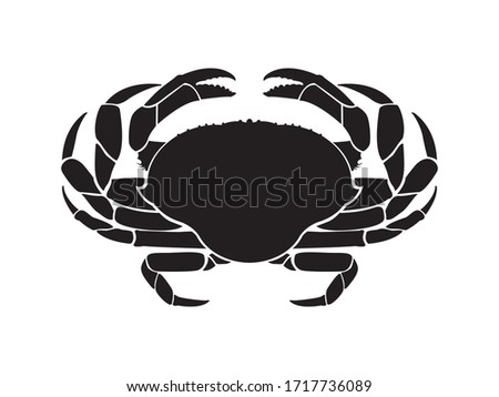 Crab sea animal silhouette. Cancer Zodiac Vector illustration. graphics, seafood on white background. Stock foto ©
