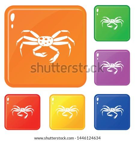 crab seafood icons set