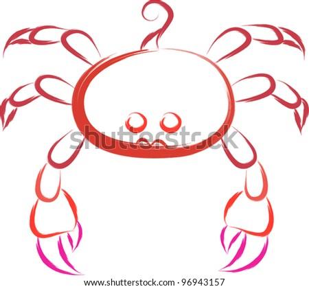 crab sketch - stock vector