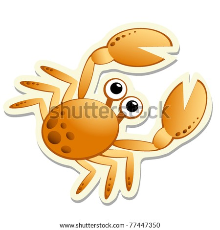 Crab sticker. Vector illustration EPS8