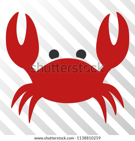 Crab vector pictogram. An illustration style is a flat iconic symbol on a hatch transparent background.