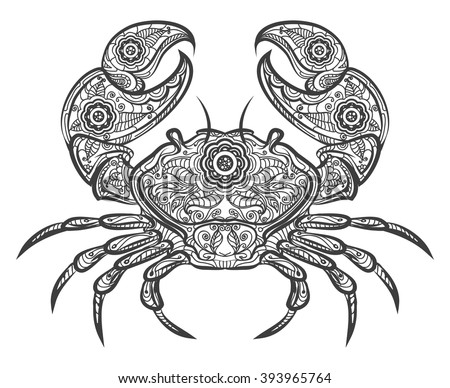 crab zentangle icon vector