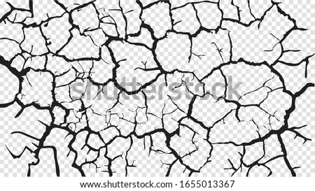 Cracked barren desert earth on transparent background banner caused by drought from global warming Сток-фото ©