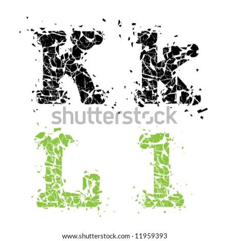 Cracked Glass Letter KL