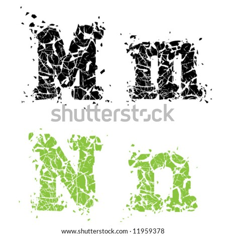 Cracked Glass Letter MN - stock vector