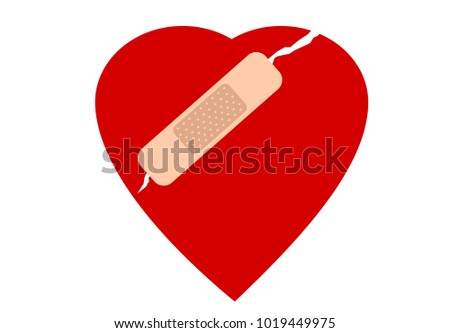 Cracked heart with plaster illustration vector
