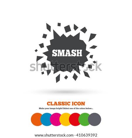 cracked hole icon smash or