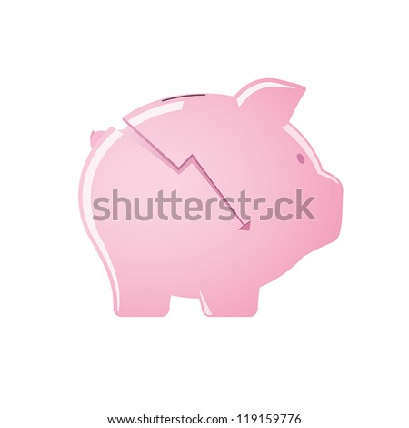 Cracked pink glossy piggy bank
