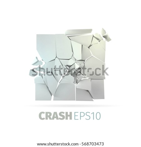 cracked stone banner isolated