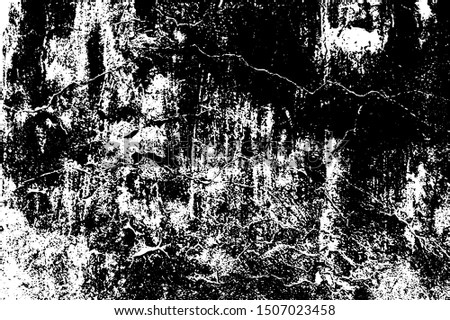 Cracked Surface Grunge Texture Vector. Uneven Overlay. Distressed Grungy Effect. Vector Illustration. Black Isolated on White Background. EPS 10.