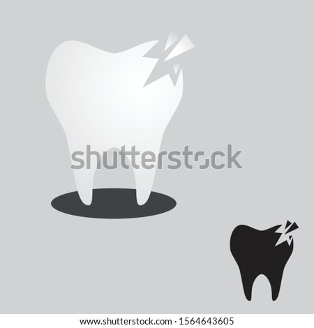 Cracked tooth flat icon for dental care. Cracked tooth for element design. Vector illustration EPS.8 EPS.10