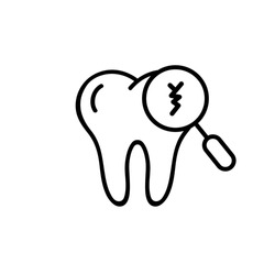 Cracked tooth icon. Dental and medicine. Caring for teeth, broken teeth and cavities. Vector on isolated white background. EPS 10