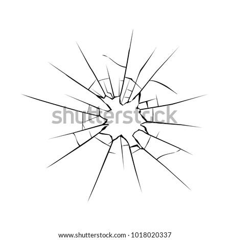 Cracks on glass. Broken crushed glass Vector illustration. Stockfoto ©