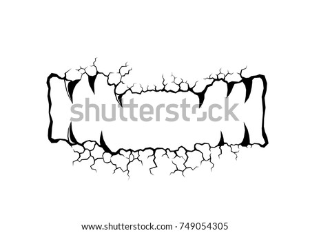 Cracks stone is mouth image of skull on white background. Monster vector in rock and grunge style. Horror concept.