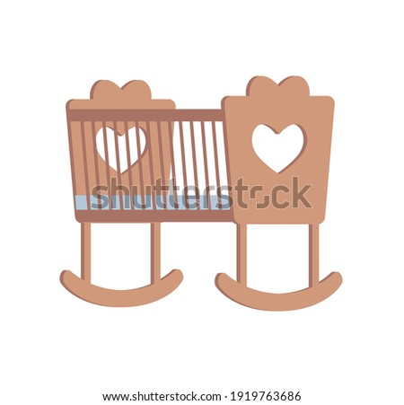 Cradle for little newborn baby girl or boy, flat vector illustration isolated on white background. Wooden brown cradle with cut out hearts. Bed for a little child. Child crib concept. Foto stock ©