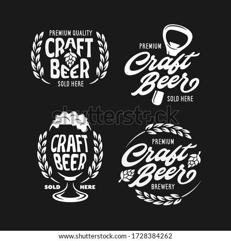 Craft beer emblems set. Beer related design elements for prints, posters, advertising logo templates. Vector vintage illustration. ストックフォト ©