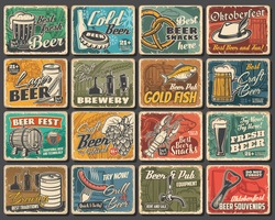 Craft beer festival, brewery and snacks tin signs. Beer brewing and pub equipment grunge vector metal plates, retro signs with tankard, smoked fish, lobster and pretzel, hop, barley and alpine hat