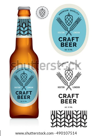 Craft Beer Label and neck label on brown bottle 330 ml - vector visual, Drawn with mesh tool. Fully adjustable & scalable.