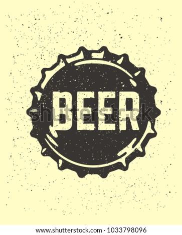 Craft beer text emblem on bottle cap. Vector