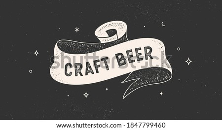 Craft Beer. Vintage ribbon with text but first coffee. Black white vintage banner with ribbon, graphic design. Text but first coffee for cafe, bar, restaurant, food menu. Vector Illustration Stok fotoğraf ©