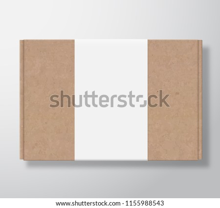 Craft Cardboard Box Container with Clear White Label Template. Realistic Carton Texture Packaging Mock Up. Isolated.
