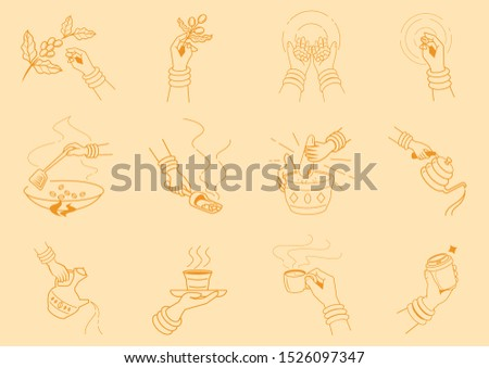 craft coffee making with hand illustration with grinding coffee beans,cuppping taste,tamping,milk streming,pouring,bean selecting and serving vector illustration Stok fotoğraf ©