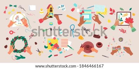 Craft hobby vector illustration set. Cartoon flat craftsman artist hands doing creative handmade decorating art work, knitting or painting, scrapbooking, sewing and creating handicraft in workshop