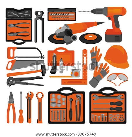 Craft icons - Hand tools (Set 1) Icons of tools for engineering, carpentry, plumbing...