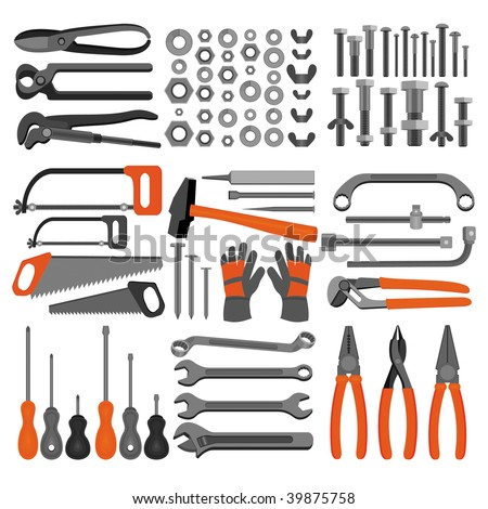 Craft icons - Hand tools (Set 4) Icons of tools for engineering, carpentry, plumbing...