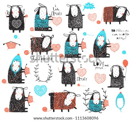 Craft Knit and Crochet Cute Sheep Bundle. Big collection of knitting and crocheting sheep hand drawn clip art elements for design.
