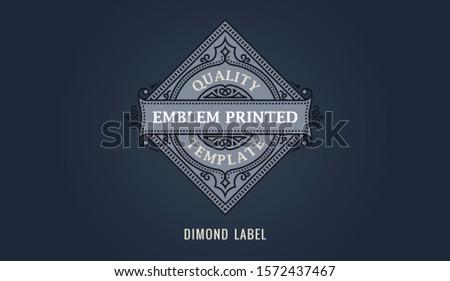 Craft label for dimond emblem, frame badge template card. Luxury calligraphic ornate frame. Ornament line logo gold design. Vintage vector illustration. Royal label sign, Restaurant, Boutique, Cafe