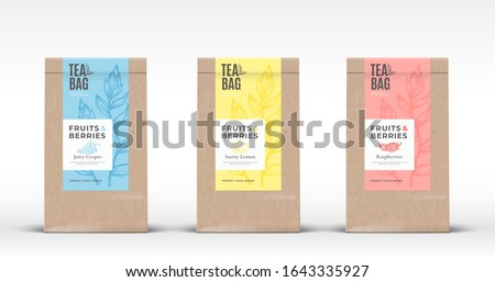 Craft Paper Bag with Fruit and Berries Tea Labels Set. Abstract Vector Packaging Design Layout with Realistic Shadows. Hand Drawn Raspberry, Lemon and Grapes Silhouettes Background. Isolated.