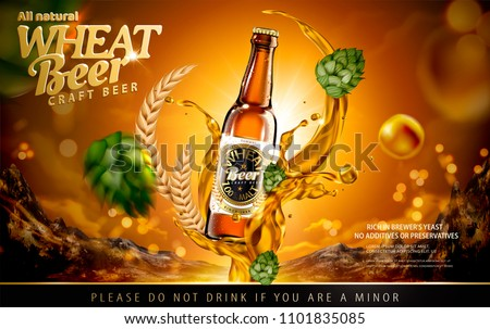 Craft wheat beer ads with splashing alcohol and hops on shiny brown background in 3d illustration
