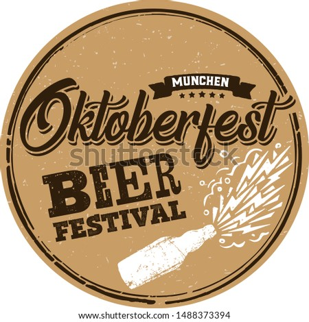 Crafted beer coaster for Bavarian Oktoberfest festival. Handwritten lettering for banner, greeting card, poster, event, flyer in grunge, rough  vintage typography. Craft Bierdeckel.