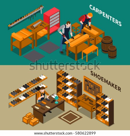 Craftsman isometric horizontal banners including carpenters with planks in workshop and creation of shoes isolated vector illustration