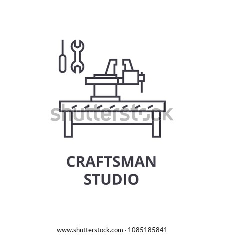 craftsman studio vector line icon, sign, illustration on background, editable strokes