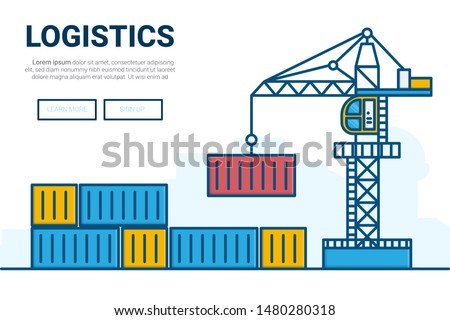 Crain and container on warehouse.  freight transport and logistics concept. Thin Line art vector illustration.