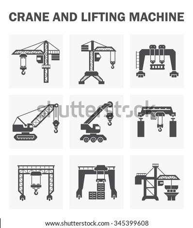 Crane and lifting machine vector icons sets.